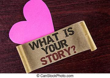 心, storytelling, 写真, を過ぎて, ペーパー, 執筆, あなたの, 何か, 個人的, 次に, メモ, 書かれた, it., ビジネス, 提示, question., 物語, 経験, 背景, 言うこと, ボール紙, 木製である, showcasing