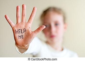 必要性, help., concept., 暴力, 子供