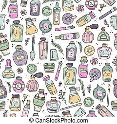 必要, perfumes., oils., 背景, seamless, ビーカー, びん, 香水, pattern., ベクトル, 準備