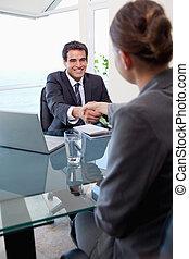 志願者, 肖像画, マネージャー, インタビュー, 女性