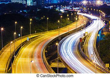忙しい, 交通, ハイウェー, 夜