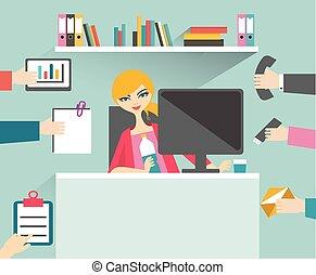 忙しい, 彼女, 管理する, 仕事, relax., 女, 微笑, 秘書