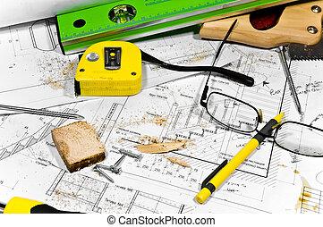 忙しい, 趣味, workbench., 別, 大工, tools:, 鋸, hummer, 巻き尺, レベル, 定規, ねじ回し, ありなさい, あること, 中に, ∥, 鋸, ほこり, に, ∥, 青写真, そして, 図画, 前方へ, ∥で∥, ねじ, 鉛筆, そして, glasses.