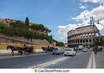 忙しい, 都市, 10 月, イタリア, 17, 中心, -, ローマ, 2012:, ローマ, 通り, 古代, colosseum, amphitheatre