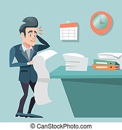 忙しい, work., 長い間, 時間外労働, ベクトル, イラスト, 強調された, list., ビジネスマン