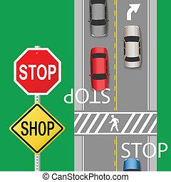 忙, 交通, 汽車, 停止簽署, 街道