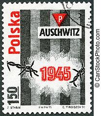 忠实, 30th, 营房, (oswiecim), 邮票, 波兰, auschwitz, -, 周年纪念日, 解放, ...