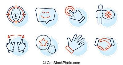 忠誠, ベクトル, 顔, 星, ジェスチャー, 握手, set., signs., 検出しなさい, 微笑, アイコン, touchscreen, 顔, はめば歯車