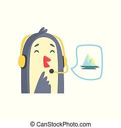 快乐, 卡通漫画, 企鹅, 支持, 电话话务员, 在中, 耳机, 矢量, 描述