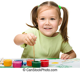 快乐, 漂亮, 玩, 孩子, 涂描