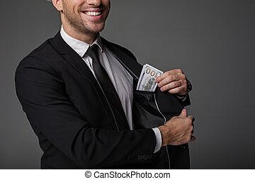 快乐, 男性, 预算, 掩藏, 衣服