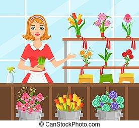 快乐, 种花人, 做, 花束, 商店, 矢量, 描述, 花, 妇女, 花, 年轻, 围裙, 套间