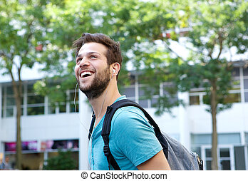 快乐, 袋子, 微笑, 年轻人