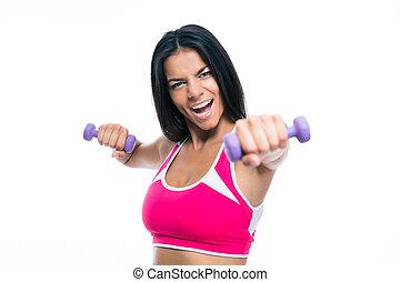 快樂, 健身, 婦女, 測驗, 由于, dumbbells