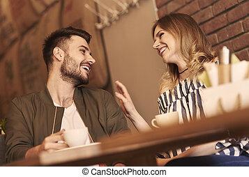 快樂, 夫婦, 在上方, 浪漫, 日期