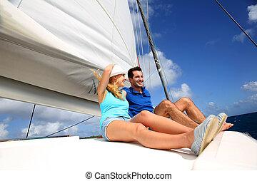 快樂, 夫婦, 巡航, 上, a, 筏, 在, 加勒比海海