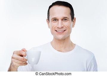 快樂, 積極, 人, 藏品, a, 杯咖啡