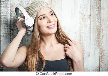 快樂, 行家, 婦女, 由于, 頭戴收話器, 是, 听音樂