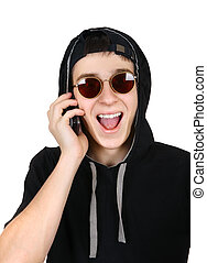 快樂, 青少年, 由于, cellphone