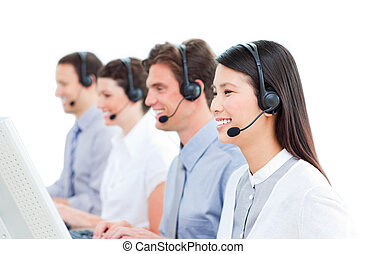 快樂, 顧客服務, 代理人, 工作, 在, a, 呼叫中心