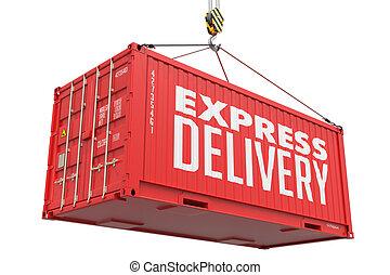 快車, 交付, -, 紅色, 懸挂, 貨物, container.