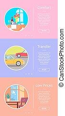 快適さ, 移動, ホテル, 価格, 低い, サービス