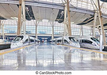 快適である, beijing., スピード, 23, 鉄道, 便利さ, 2015:, 陶磁器, 列車, ほとんど, 高く...