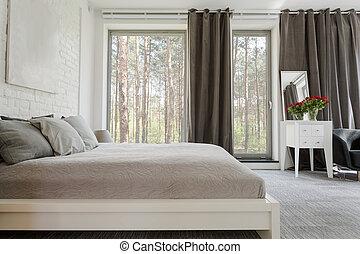 快適である, king-size, 広い, ベッド, 寝室
