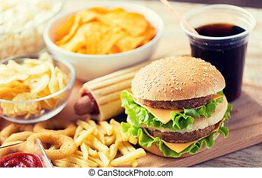 快餐, 食物, 飲料, 向上, 快, 關閉, 桌子