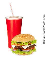 快餐, 飲料, 以及, 漢堡包