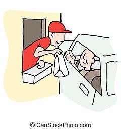 快餐, 驅車thru, 窗口