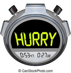 快點!, 詞, stopwatch, 定時器, 速度, 突進, competetion
