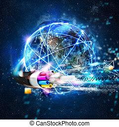 快, 因特网, 全世界, 联系, 带, the, 光纤