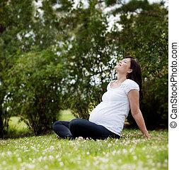 怀孕的婦女, 在公園