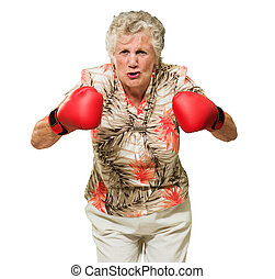 怒っている女性, ボクサー