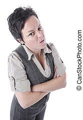 怒っている女性, 交差は 武装する