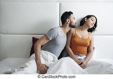 怒っている女性, 問題, ベッド, 関係