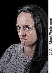 怒っている女性, 肖像画