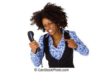 怒る, アフリカ系アメリカ人の女性, ∥で∥, 受話器