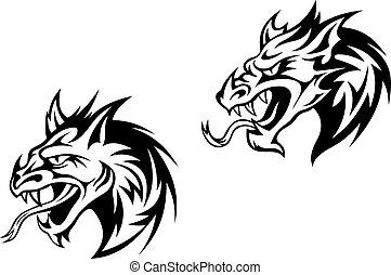 怒る, ドラゴン, 黒, モンスター, ∥あるいは∥