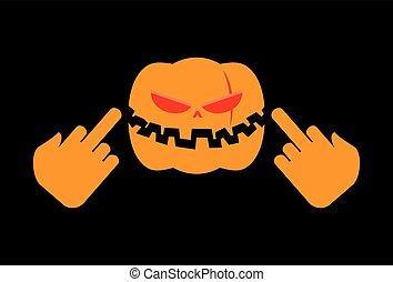 怒る, ハロウィーン, ひどい, fuck., 野菜, 攻撃的である, 休日, ショー, カボチャ