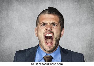 怒る, ビジネスマン, 叫ぶこと, 面白い, ヘアカット