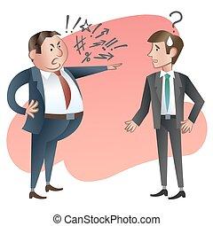 怒る, ベクトル, employee., illustration., 上司