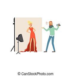 怒る, 人, カメラマン, ∥で∥, カメラ, 叫ぶ, ∥において∥, モデル, 女の子, 中に, 長い間, 赤, dress., 専門家, スタジオ, ∥で∥, 装置, 柔らかい, 箱, そして, 背景, 上に, stand., 隔離された, 平ら, ベクトル