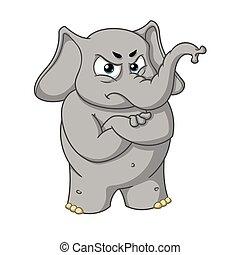 怒る, 大きい, 象, 隔離された, コレクション, 腕, バックグラウンド。, ベクトル, 交差させる, 特徴, 漫画