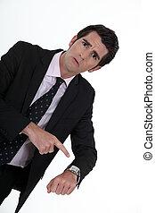 怒る, 彼の, 腕時計, 指すこと, 上司