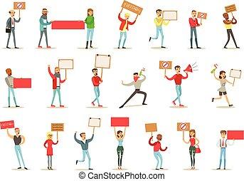 怒る, 抗議する, 人々, 政治的である, 要求, freedoms, 抗議, 旗, 叫ぶこと, 行進