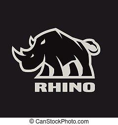 怒る, 暗い, バックグラウンド。, rhino., ロゴ, モノクローム