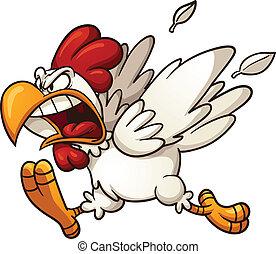 怒る, 鶏
