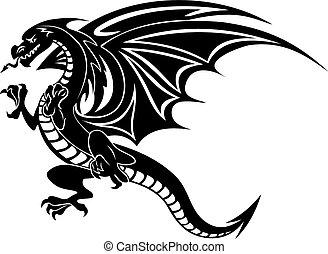 怒る, 黒, ドラゴン